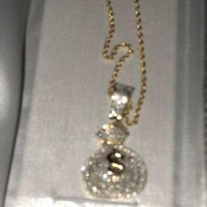 Jewelry - Vs1 diamond money bag pendant & 14k gold chain